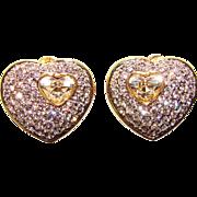 Fabulous HEART Shaped Rhinestone Clip Earrings