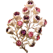 Gorgeous WISTERIA Purple Pink Rhinestone Sarah Coventry Brooch