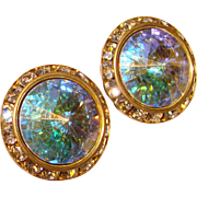 Fabulous RIVOLI Rhinestone Vintage Clip Earrings