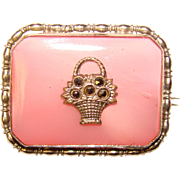 Gorgeous Deco PINK SATIN Glass Marcasite Basket Brooch
