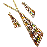 Fabulous GREEN & AMBER Navette Rhinestone Vintage Necklace Set