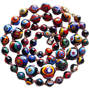 Gorgeous MILLEFIORI GLASS Bead Vintage Necklace - Italian