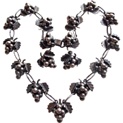 Fabulous MEXICAN STERLING Grapes Vintage Necklace Set - Signed EML