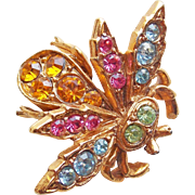 Super Cute BUG Insect Color Rhinestone Vintage Brooch