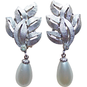 Gorgeous TRIFARI Faux Pearl Dangle Vintage Earrings