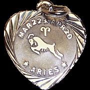 Sterling ARIES Heart Vintage Estate Charm - Zodiac Astrology