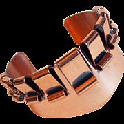 Fabulous RENOIR Signed Copper Modernist Wide Cuff Vintage Bracelet