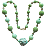 Art Deco Green Carved Celluloid & Glass Necklace