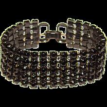 Awesome BLACK on BLACK Prong Set Stones Vintage Bracelet