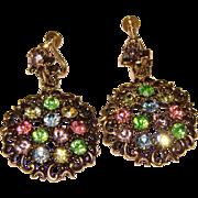 Gorgeous Colored Rhinestone Vintage Dangle Screw Back Earrings