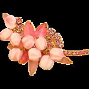 Fabulous D&E JULIANA Pink Frosted Rhinestone Glass Dangles Vintage Brooch