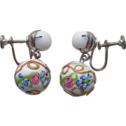 Pretty VENETIAN GLASS Wedding Cake Beads Vintage Earrings