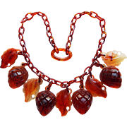 Gorgeous Early Plastic Pine Cone Dangles Celluloid Chain Vintage Necklace - Cherry Cola Color