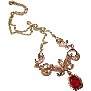 Gorgeous AM LEE STERLING Vintage Red & Clear Stones Filigree Necklace