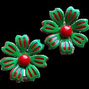 Red & Green FLOWER POWER Enamel Vintage Earrings - 1960s Christmas Holidays