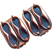 Gorgeous RENOIR Signed Copper Modernist Vintage Estate Earrings