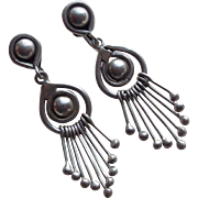 Awesome MEXICAN STERLING Vintage Dangle Earrings - Taxco Silver Signed E Barena