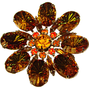 Fabulous Fall Colors Watermelon Fantasy Stone Vintage Rhinestone Brooch