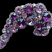 Fabulous AUSTRIA Purple & Lavender Rhinestone Vintage Brooch - Paisley Shape