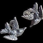 Sterling BIRD Vintage Earrings - Signed Jewel Art - Screw Back