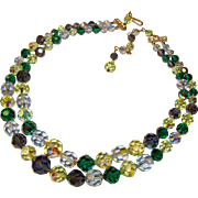 Fabulous Vintage BLUE & GREEN Mixed Color Aurora Crystal Beads Necklace