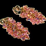 Fabulous PINK AURORA CRYSTAL Vintage Dangle Clip Earrings
