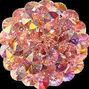 Fabulous PINK Aurora Crystal Vintage Brooch