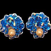 Fabulous CAPRI BLUE Aurora Crystal Vintage Clip Earrings