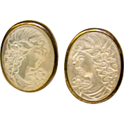 Gorgeous STERLING Shell Cameo Pierced Clip Earrings