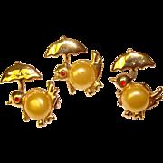 Three CHICKS with Umbrellas Vintage Scatter Pins