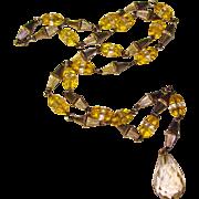 Fabulous ART DECO Yellow & Clear Glass Drop Necklace