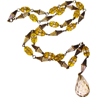 Fabulous ART DECO Yellow & Clear Glass Drop Necklace