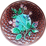 Fabulous Majolica Blackberry Berry Antique Plate Basketweave Design