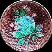 Fabulous Majolica Blackberry Berry Antique Plate Basketweave Design