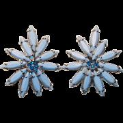 Gorgeous WEISS Light Blue Milkglass & Capri Rhinestone Vintage Earrings