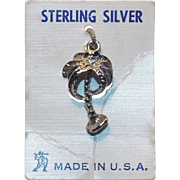 Sterling PALM TREE Vintage Charm - on Original Card
