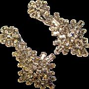 Fabulous BAGUETTE Rhinestone Dangle Vintage Clip Earrings