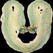 Fabulous FANCY TORSADE Aqua Rhinestone Clasp Multi Strand Glass Beads Necklace