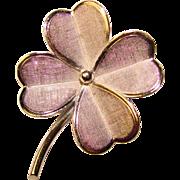 Sterling 4 Leaf Clover Vintage Brooch - Signed Lang