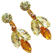 Yellow & Amber Rhinestone Vintage Dangle Earrings - Autumn Fall Colors