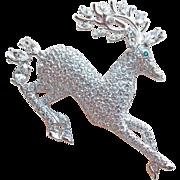 Fabulous NOLAN MILLER Rhinestone Reindeer Brooch - Christmas Holidays