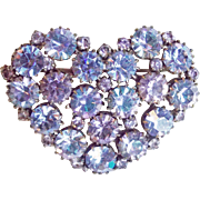 Fabulous Heart COLOR CHANGING Rhinestone Vintage Brooch - Lavender & Blue