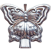 Gorgeous Reed & Barton Sterling Butterfly Whistle Christmas Ornament Vintage Medallion