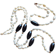 Gorgeous 14K Gold Clasp Cultured Freshwater Pearl Vintage Necklace Bracelet Set - Fresh Water