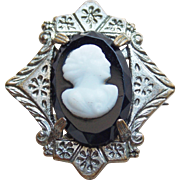 "Tiny Antique Glass Cameo Mini Brooch - 1"" For Doll or Lapel"
