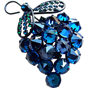 Fabulous POINT SIDE UP Vintage Blue Crystal Rhinestone Brooch - Capri Blue Deep Blue & Green