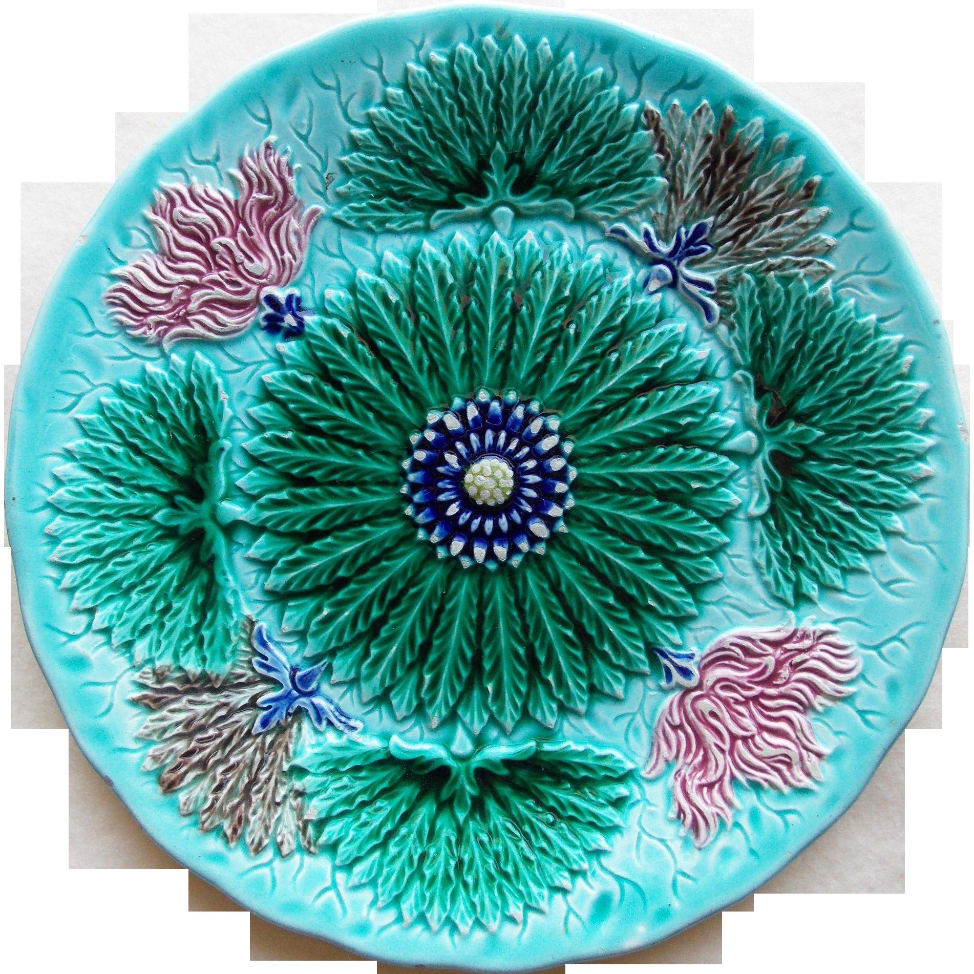 French Majolica Floral Design Antique Plate - Utzschneider & Cie at Sarreguemines France