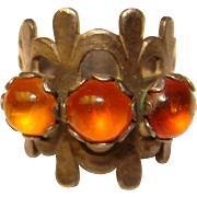 Fabulous STERLING AMBER Stones Vintage Ring