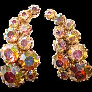 Fabulous AURORA RHINESTONE Vintage Ear Climber Clip Earrings
