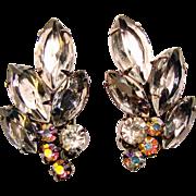 Fabulous D&E JULIANA Smoke Glass & Aurora Rhinestone Vintage Earrings